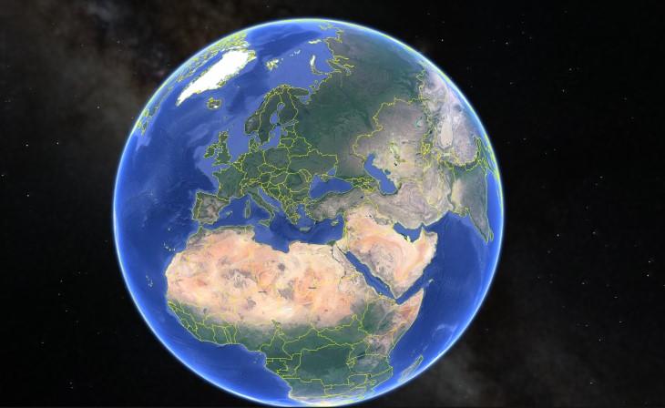 vue de la terre par google earth